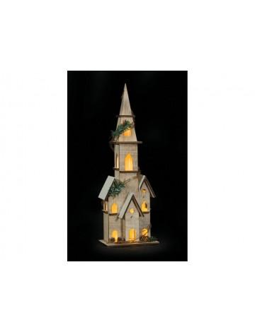 Ξύλινο Διακοσμητικό Σπιτάκι Με Led Φωτισμό Μπαταρίας ,45(H) x 22 x 14cm
