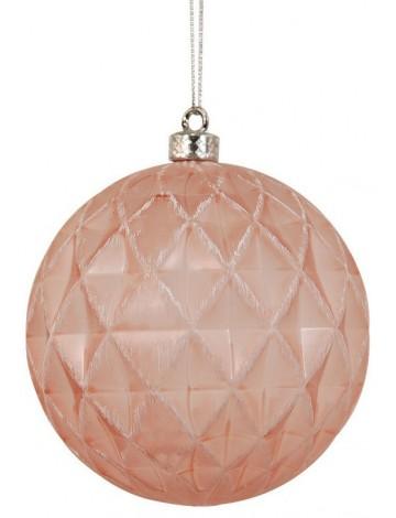 Ρόζ Πλαστική Χριστουγεννιάτικη Μπάλα 8cm