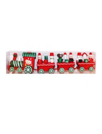 CHRISTMAS TRAIN Ξύλινο Κόκκινο 24.5x6cm