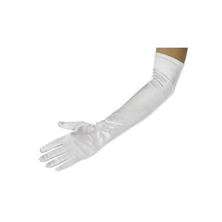 Γάντια σατέν μακριά άσπρα 52 cm