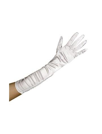 Γάντια λευκά σατέν με σούρα