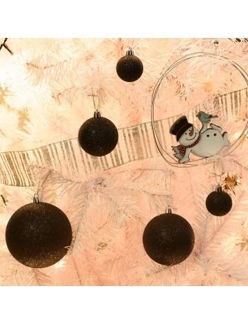 Χριστουγεννιάτικη Μπάλα Μαύρη Glitter 8εκ.