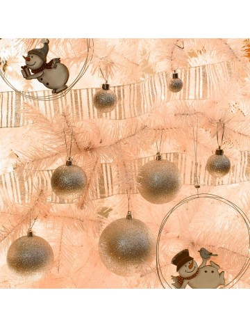 Χριστουγεννιάτικη Μπάλα Ασημί Glitter 10εκ.