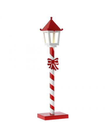 Φωτιζόμενο Χριστ/κο Φανάρι κόκκινο λευκό ρίγες 14x10x55 εκ.